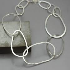 <b>Modern</b>, <b>unique</b> and bold, this sterling silver <b>necklace</b> is handcrafted ...