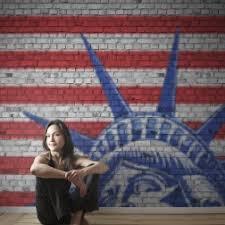 liberty bedroom wall mural: photo mural of bricks of liberty interior