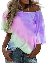 2020 New Blouses!!!Womens Gradient Color <b>Short Sleeved T</b>-<b>Shirt</b> ...