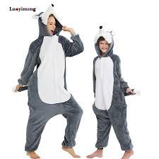 <b>New Kigurumi Wolf</b> Pajamas Adults Animal Lion Panda Unicorn ...