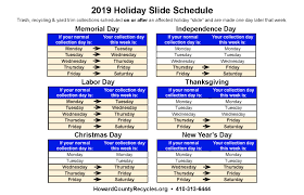 Holiday Schedule for Recycling & Trash
