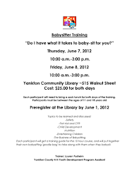 yankton library babysitting training yankton library babysitting training