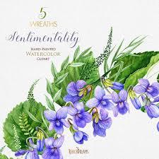 Viola Flowers, Watercolor Clipart Wreaths, <b>Floral Violet</b>, Wedding ...