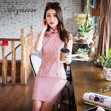 <b>2019</b> Summer Short <b>Cheongsam Traditional Chinese Dress</b> Women ...