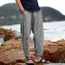 <b>Mens Linen</b> Casual Lightweight Drawstrintg Elastic Waist Summer ...
