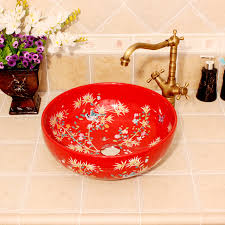 bathroom countertop basins wholesale: china painting flowers and birds ceramic painting art lavabo bathroom vessel sinks round counter top kohler