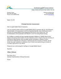 best photos of promotion announcement letter sample employee announcement letter re cocopah principal jpg promotion announcement letter