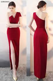 [$83.67] <b>Sexy One Shoulder</b> Burgundy Fitted Formal Dress with Slit ...