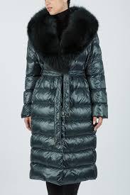IT 164 - Green down <b>coat</b> with <b>fox</b> collar - Shaya Fashion