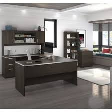 living room desks furniture: bestar ridgeley u shaped desk with lateral file and bookcase