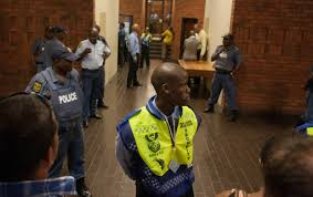 in photos pistorius courts bail application daily maverick photo ldquobehind the line rdquo said justice department security and police as dozens of journalists and onlookers tried to gain entry to court c