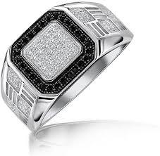 Amazon.com: Mens <b>Geometric 925 Sterling Silver</b> Micro Pave Halo ...