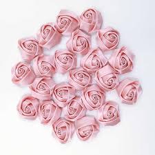 10Pieces/Bag Coral <b>Color</b> 3.5CM Satin Ribbon <b>Rose Flower</b> Silk ...