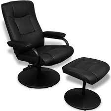 vidaXL Black Artificial Leather <b>TV Armchair with Foot</b> Stool - Walmart ...