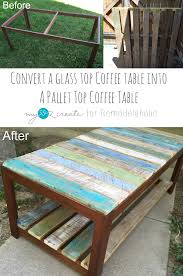 Coffee Table Into A Bench Remodelaholic Update A Glass Top Coffee Table With A Pallet