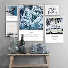 <b>Scandinavian</b> Ocean Wave <b>Palm Tree</b> Nature Poster <b>Nordic</b> Wall Art ...
