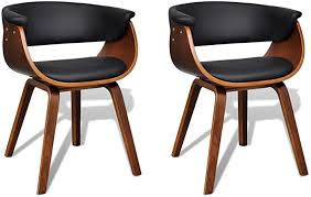 <b>Modern Artificial Leather Wood</b> Dining Chair 2 pcs: Amazon.co.uk ...