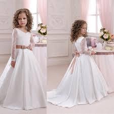 <b>2017 New</b> Arrival Flower Girl Dresses White <b>Ivory Satin</b> Sequins ...