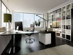 officemodern home office design with l shape black computer desk and black ceramc floor black and white office design