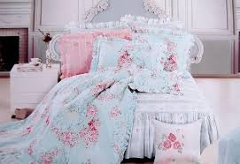 with pink roses and green leaf on pale blue cotton base high quality cotton made white lace deocrated fabric 100 cotton size queen59x79bed skirt blue shabby chic bedding