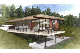 Sloping Lot Plans   Houseplans comSignature Modern Exterior   Rear Elevation Plan       Houseplans com