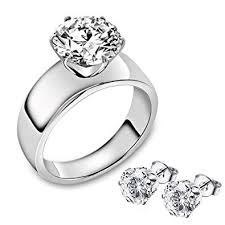 FlameReflection Stainless Steel Solitaire Ring ... - Amazon.com