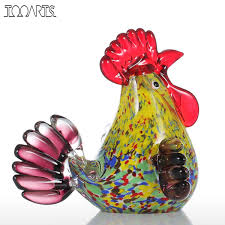 art glass tooarts font tooarts sculpture multicolor rooster glass sculpture animal ornament f