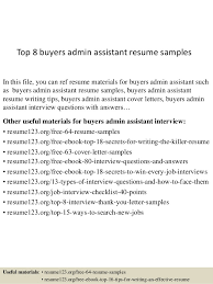 Top   buyers admin assistant resume samples