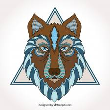 Download Vector - <b>Ethnic wolf</b> with triangle - Vectorpicker