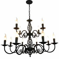 Luxury Rustic <b>Wrought Iron Chandelier</b> E14 Candle Black <b>Vintage</b> ...