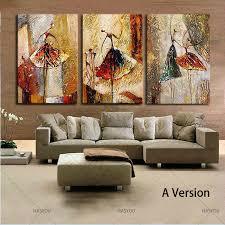 Ballet Dancing Girls Modern 3 Panels <b>100</b>% <b>Hand Painted Oil</b> ...