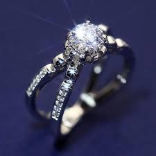 Luxury <b>Female Crystal Zircon Stone</b> Ring 925 Silver White Wedding ...