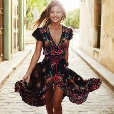 <b>2019 New Women Summer</b> V Neck Vintage Boho Long Maxi Floral ...