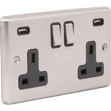 Wessex Brushed <b>Stainless Steel USB</b> Switched Socket 4.8A 2 Gang ...