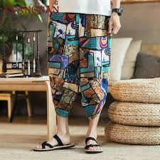 streetwear calf length pants printing patchwork mens elastic waist black green gray