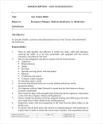 asst waiter buffet job description waiter job description