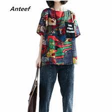 <b>korean style cotton</b> linen plus size vintage print casual loose tee t ...