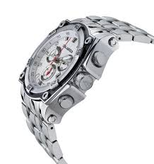 amazoncom calabria bianco white chronograph mens watch with carbon fiber bezel and stainless steel band calabria watches calabria stainless steel