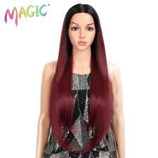 <b>MAGIC Hair</b> Red Wine Natural Wig <b>Heat Resistant</b> Synthetic <b>Hair</b> ...