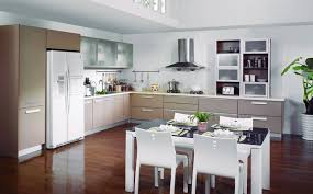 dining table interior design kitchen:  kitchen awesome l cabinets design with large refrigerator on cabinets also bright countertops combination for
