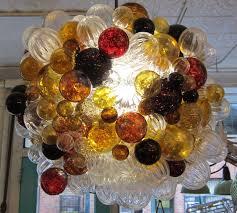 large glass bubble chandelier with amber handblown bubbles bubble hand blown glass
