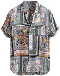 Generic Mens <b>Fashion</b> Ethnic Print <b>Pattern</b> Slim Short Sleeve Beach ...