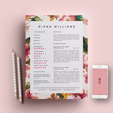 floral cv template creative floral border and bullets resume template 3 page pack cv template cover by resumegalleria