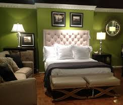 green room brown couch bedroom ideas green color fascinating white tufted wings headboard