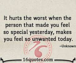 When someone makes you feel so unwanted - Disappointment Quote via Relatably.com