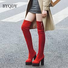 <b>BYQDY Ultra High Heels</b> Women Boots Winter Thick Heel Over the ...