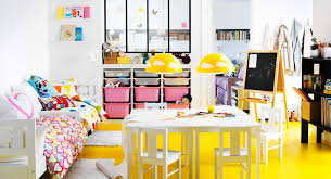 themed kids room designs cool yellow:  ikea childs room bright yelow and white theme pink accents