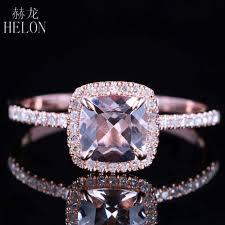 <b>HELON</b> Claw Prongs 6X6mm Cushion Pink morganite engagement ...