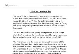 dulce et decorum est   gcse english   marked by teachers comdocument image preview