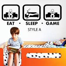 Art design cheap vinyl home decoration cartoon <b>eat sleep game wall</b> ...